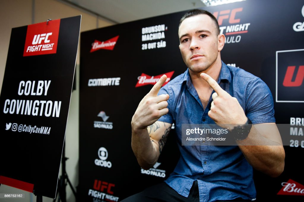 Welterweight contender Colby Covington talks to the press during the Ultimate Media Day at the Matsubara Hotel for the UFC Fight Night Sao Paulo on October 26, 2017 in Sao Paulo, Brazil.
