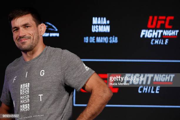 UFC welterweight contender Demian Maia of Brazil holds an open training session at Mall Sport on May 16 2018 in Santiago Chile
