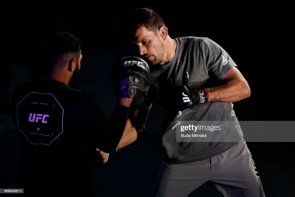 UFC welterweight contender Demian Maia of Brazil holds an open training session at Mall Sport on May 16, 2018 in Santiago, Chile.