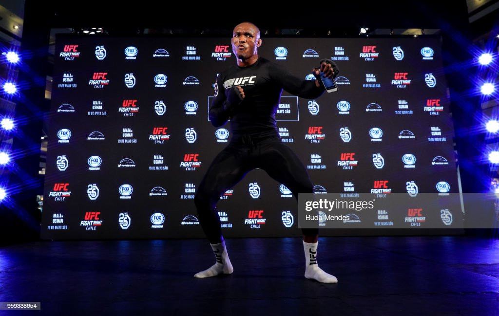 UFC welterweight contender Kamaru Usman of Nigeria holds an open training session at Mall Sport on May 16, 2018 in Santiago, Chile.