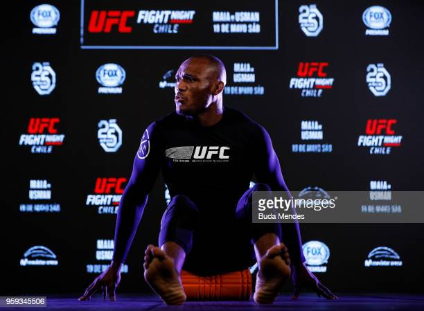 UFC welterweight contender Kamaru Usman of Nigeria holds an open training session at Mall Sport on May 16 2018 in Santiago Chile