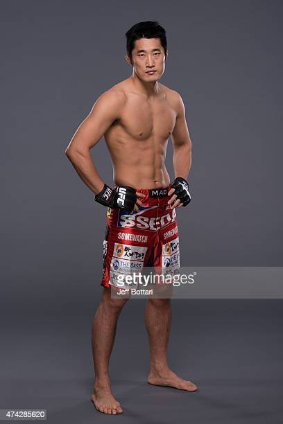 Welterweight Dong Hyun Kim poses for a portrait during a UFC photo session inside the MGM Grand Garden Arena on May 21, 2015 in Las Vegas, Nevada.