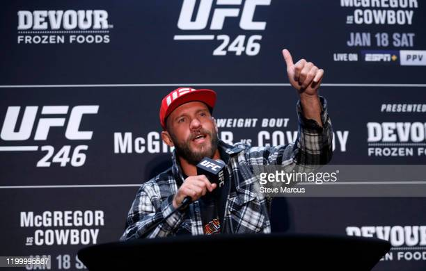 Welterweight fighter Donald Cerrone responds to a question during the UFC 246 Ultimate Media Day on January 16 2020 in Las Vegas Nevada Cerrone will...