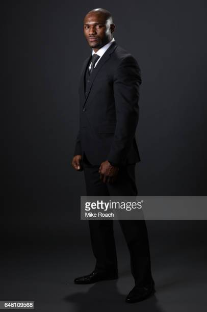 UFC welterweight fighter Kamaru Usman poses for a portrait backstage during the UFC 209 event at TMobile Arena on March 4 2017 in Las Vegas Nevada