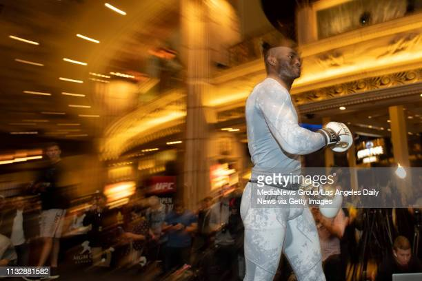 UFC welterweight Kamaru Usman during UFC 235 open workouts at the MGM Grand in Las Vegas NV Thursday Feb 28 2019