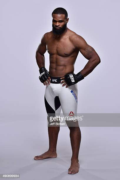 UFC welterweight Tyron Woodley poses for a portrait during a UFC photo session inside the Westin Houston on September 30 2015 in Houston Texas