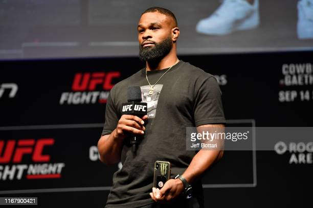 Welterweight Tyron Woodley stands on stage during a Q&A session prior to the UFC Fight Night weigh-in at Rogers Arena on September 13, 2019 in...