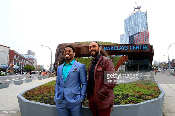Welterweight world champion Keith Thurman and former world champion Shawn Porter pose outside the Barclays Center on April 26 2016 in the Brooklyn...