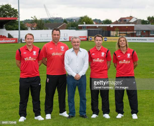 Wembley FC's new signngs Ray Parlour David Seaman technical advisor Terry Venables Graeme Le Saux and Claudio Caniggia during a Press Conference at...