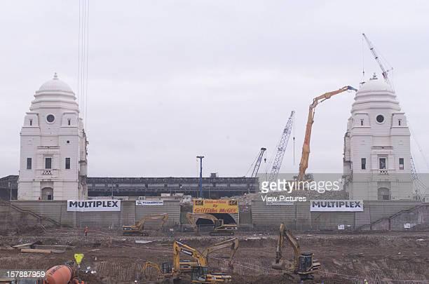 Wembley Stadium Demolition Wembley United Kingdom Architect John Simpson / Maxwell Ayrton / Owen Williams Wembley Stadium Towers With Cranes