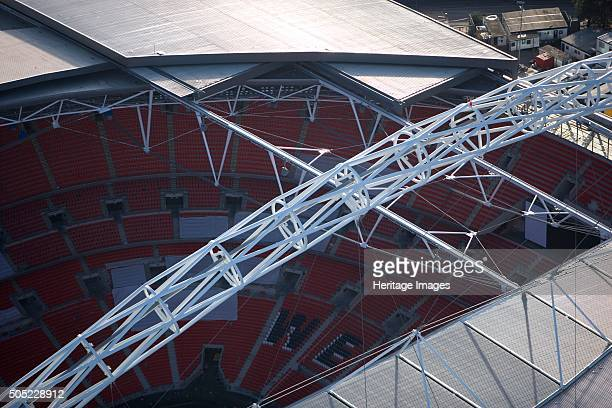 Wembley Stadium London 2006 Close up aerial view showing section of the roof interior and arch Artist Historic England Staff Photographer