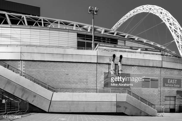 Image has been converted to black and white Wembley Stadium the home of the UK's national soccer team and the largest stadium in the UK is deserted...