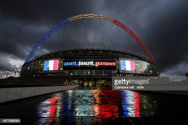 Wembley stadium with the arch lit up in red white and blue of the French tricolour flag before the international friendly between England and France...