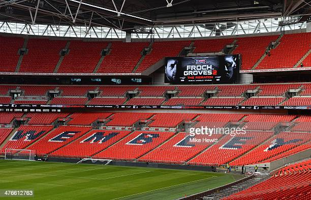Wembley Stadium's big screen displays the Froch v Groves 2 logo during the announcement that Wembley Stadium will stage the rematch between Carl...