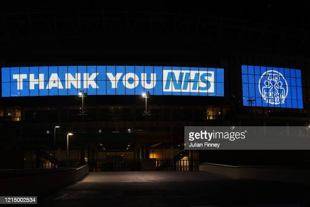 Wembley way is seen thanking the NHS on March 26 2020 in London United Kingdom The Clap For Our Carers campaign has been encouraging people across...