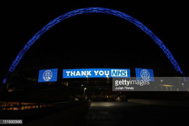 "Wembley way is seen thanking the NHS on March 26, 2020 in London, United Kingdom. The ""Clap For Our Carers"" campaign has been encouraging people..."