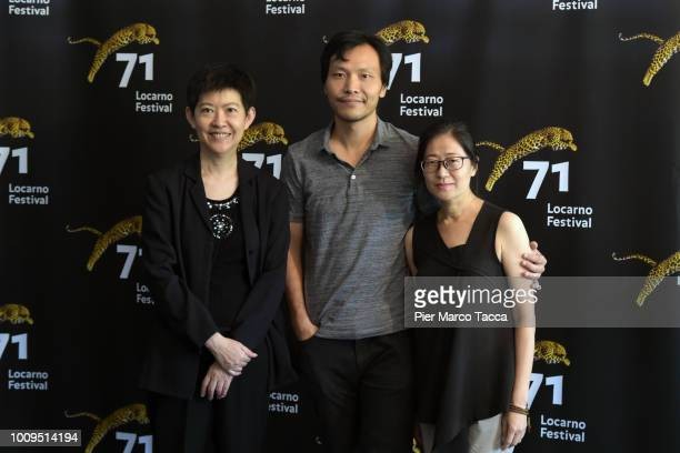 Wen Chieh Tsao Producer Director Liang Ying and Shuping Lee attend the 'A Family Tour' photocall during the 71st Locarno Film Festival on August 2...