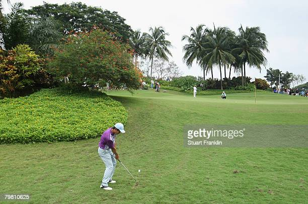 Wen Chong Liang of China plays his chip shot on the 12th hole during the final round of the 2008 Enjoy Jakarta Astro Indonesian Open at the...