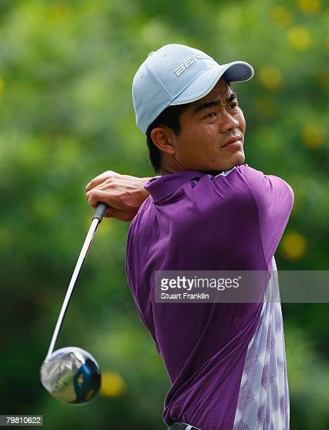 Wen Chong Liang of China plays his tee shot on the second hole during the final round of the 2008 Enjoy Jakarta Astro Indonesian Open at the...