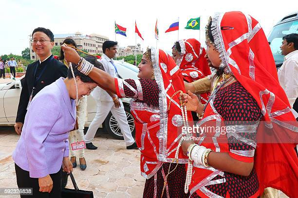 Wen Ma from China being welcomed as she arrive to attend BRICS 2016 Women Parliamentarians Meeting at Rajasthan Assembly in Jaipur Rajasthan India 20...