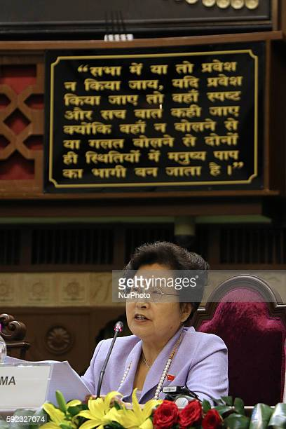 Wen MA from China speaks during the Plenary Session' Perspectives on implementation of SDGs at Rajasthan Assembly in Jaipur Rajasthan India 20 August...