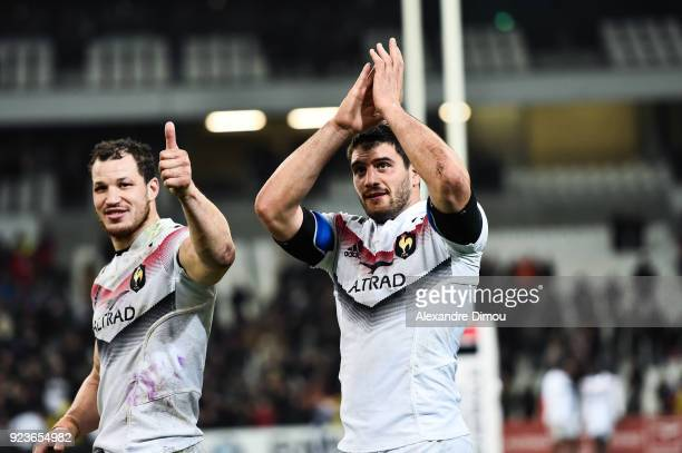 Wenceslas Lauret and Kelian Galletier of France celebrate the win during the NatWest Six Nations match between France and Italy at Stade Velodrome on...