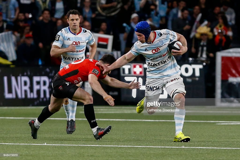 Wenceslas Lauret #6 of Racing 92 is tackled by Anthony Belleau #20 of RC Toulon during the French Top 14 match between Racing 92 and RC Toulon at U Arena on April 8, 2018 in Nanterre, France.