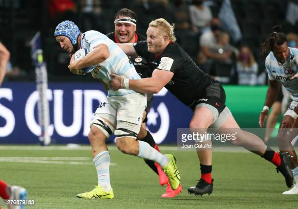 Wenceslas Lauret of Racing 92 Vincent Koch of Saracens during the Heineken Champions Cup Semi Final match between Racing 92 and Saracens at Paris La...