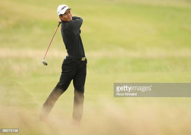 WenChong Liang of China hits an approach shot during round two of the 138th Open Championship on the Ailsa Course Turnberry Golf Club on July 17 2009...