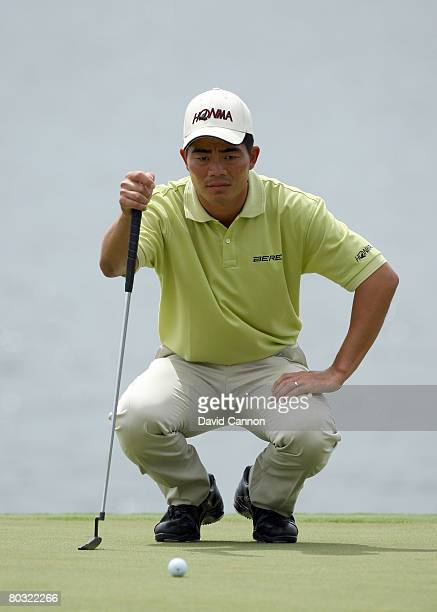 Wenchong Liang of China lines up his fourth shot at the 10th hole during the first round of the 2008 World Golf Championships CA Championship at the...