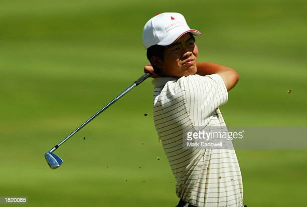 WenChong Liang of China plays his approach shot on the fourth hole during the second round of the Jacob's Creek Open Championship at the Kooyonga...
