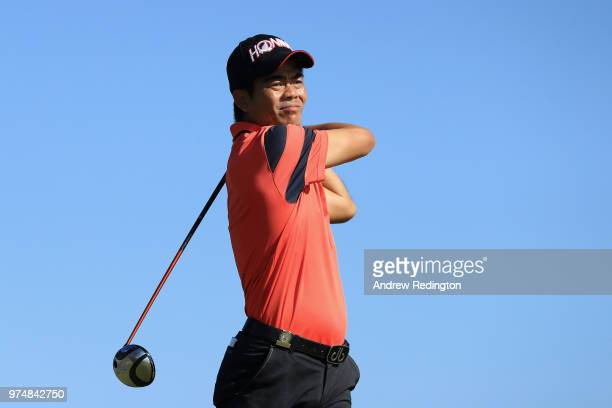 Wenchong Liang of China plays his shot from the 15th tee during the first round of the 2018 US Open at Shinnecock Hills Golf Club on June 14 2018 in...