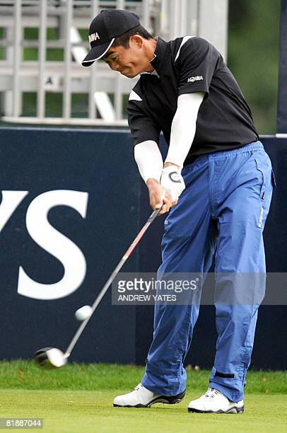 Wenchong Liang of China tees off at the First during the first round of the Scottish Open at Loch Lomond Scotland on July 10 2008 AFP PHOTO/Andrew...