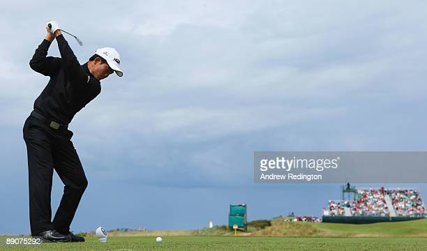 WenChong Liang of China tees off on the 4th hole during round two of the 138th Open Championship on the Ailsa Course Turnberry Golf Club on July 17...