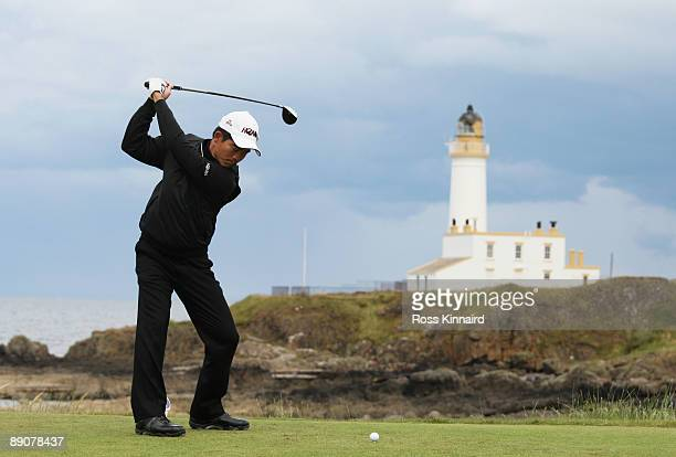WenChong Liang of China tees off on the 9th hole during round two of the 138th Open Championship on the Ailsa Course Turnberry Golf Club on July 17...