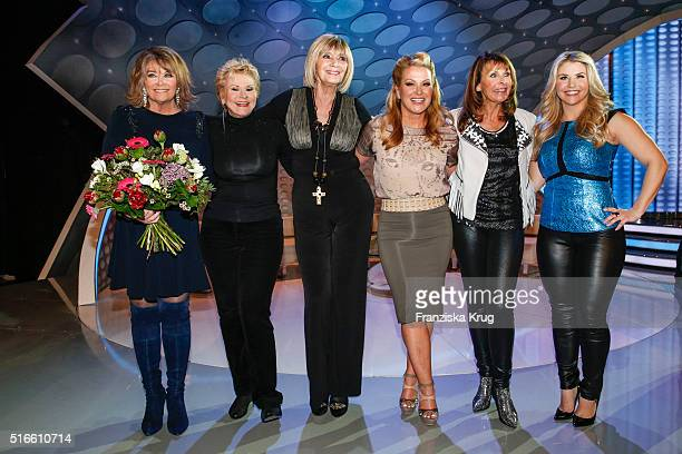 Wencke Myhre Peggy March Cindy Berger Anastacia Ireen Sheer and Beatrice Egli during the TV show 'Willkommen bei Carmen Nebel' on March 19 2016 in...