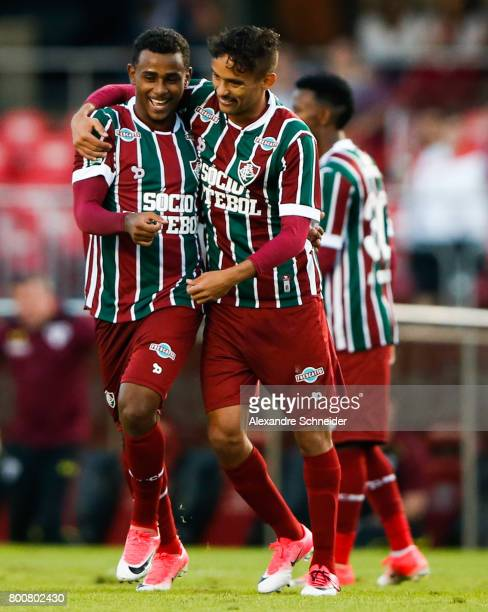 Wendel and Gustavo Scarpa of Fluminense icelebrate their first goal during the match between Sao Paulo and Fluminense for the Brasileirao Series A...