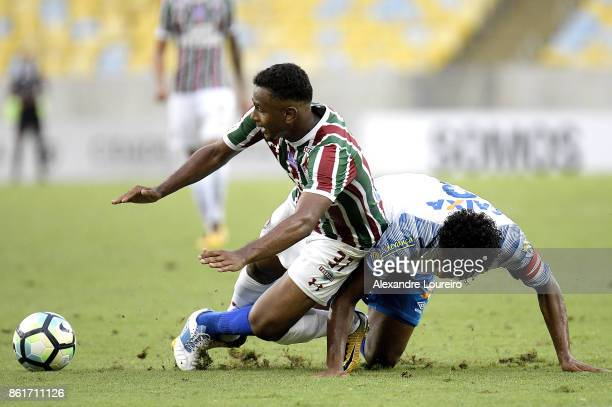 Wendel of Fluminense battles for the ball with Betao of Avai during the match between Fluminense and Avai as part of Brasileirao Series A 2017 at...