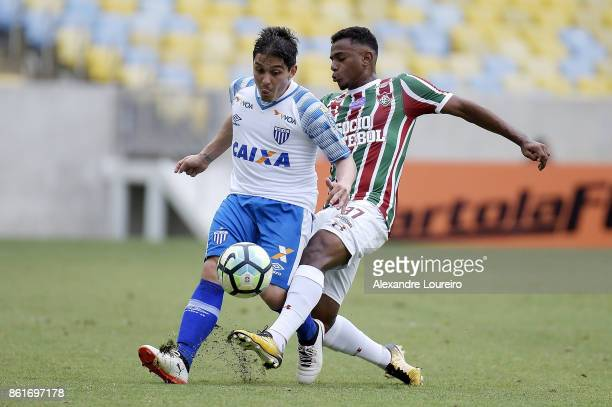 Wendel of Fluminense battles for the ball with Lucas Otávio of Avai during the match between Fluminense and Avai as part of Brasileirao Series A...