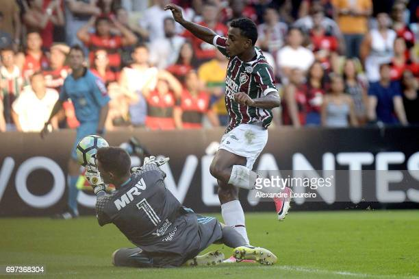 Wendel of Fluminense battles for the ball with Thiago of Flamengo during the match between Fluminense and Flamengo as part of Brasileirao Series A...