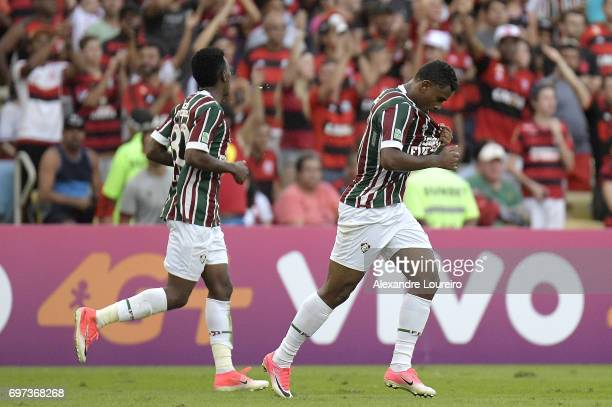 Wendel of Fluminense celebrates a scored goal with Marquinhos Calazans during the match between Fluminense and Flamengo as part of Brasileirao Series...