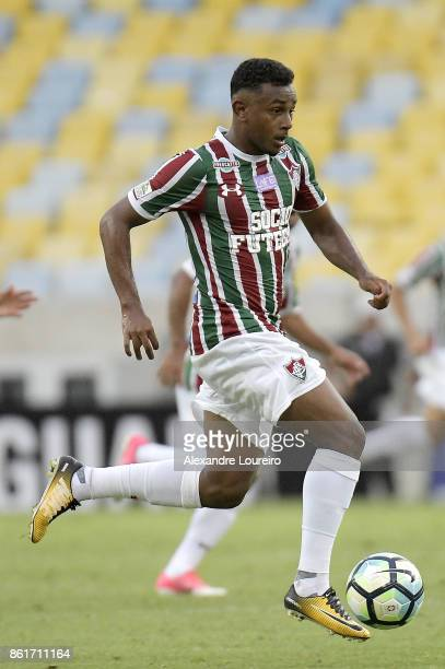 Wendel of Fluminense runs with the ball during the match between Fluminense and Avai as part of Brasileirao Series A 2017 at Maracana Stadium on...