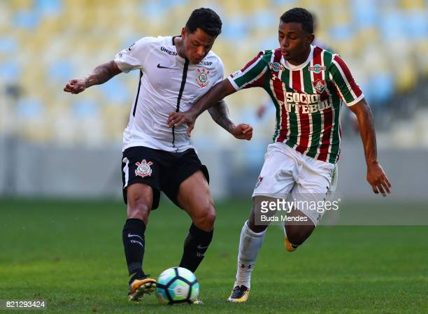 Wendel of Fluminense struggles for the ball with Giovanni Augusto of Corinthians during a match between Fluminense and Corinthians as part of...