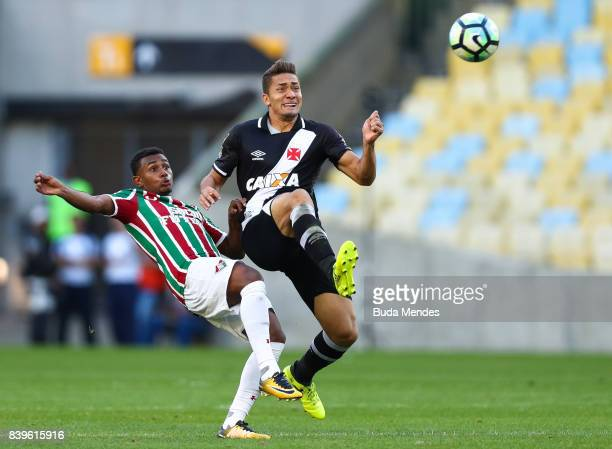 Wendel of Fluminense struggles for the ball with Jean of Vasco da Gama during a match between Fluminense and Vasco da Gama as part of Brasileirao...