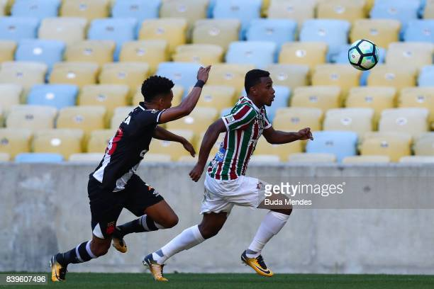 Wendel of Fluminense struggles for the ball with Madson of Vasco da Gama during a match between Fluminense and Vasco da Gama as part of Brasileirao...