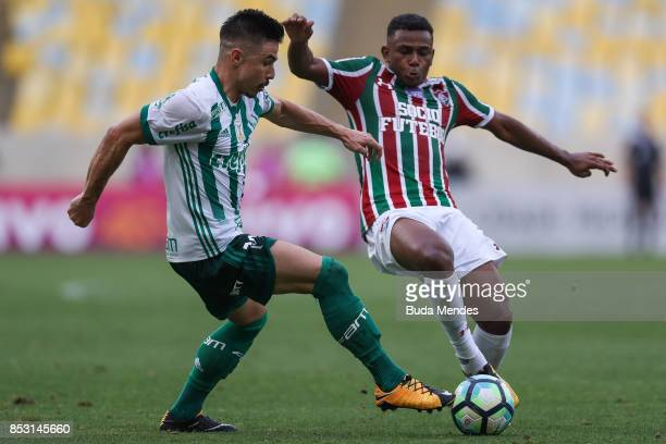Wendel of Fluminense struggles for the ball with Willian of Palmeiras during a match between Fluminense and Palmeiras as part of Brasileirao Series A...