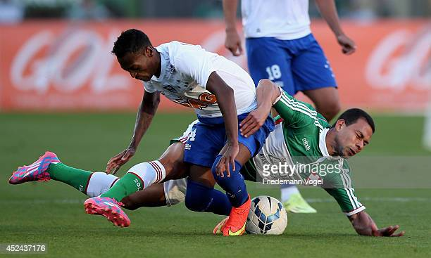 Wendel of Palmeiras fights for the ball with Marquinhos of Cruzeiro during the match between Palmeiras and Cruzeiro for the Brazilian Series A 2014...