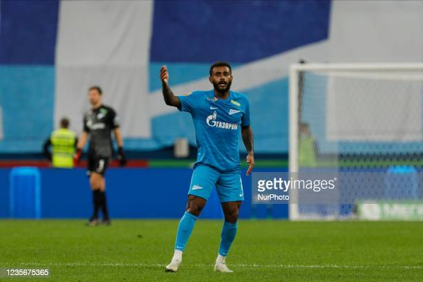 Wendel of Zenit gestures during the Russian Premier League match between FC Zenit Saint Petersburg and FC Sochi on October 3, 2021 at Gazprom Arena...