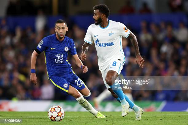 Wendel of Zenit Saint Petersburg in action with Hakim Ziyech of Chelsea during the UEFA Champions League group H match between Chelsea FC and Zenit...