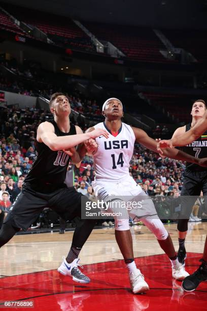 Wendell Carter Jr #14 of the USA Junior Select Team boxes out against Isaiah Hartenstein of the World Select Team during the game on April 7 2017 at...